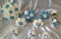 WEDDING PACKAGE ARTIFICIAL FLOWERS FOAM ROSE BOUQUETS - BLUE WHITE BRIDE